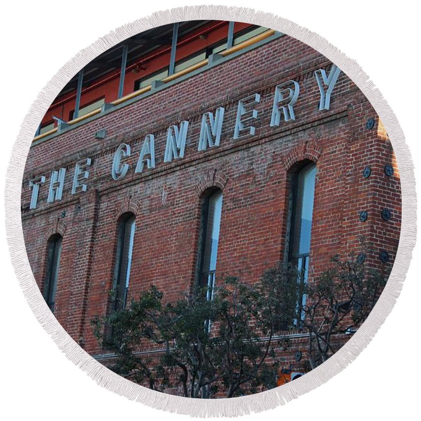 Cannery Round Beach Towel featuring the photograph The Cannery by Michiale Schneider