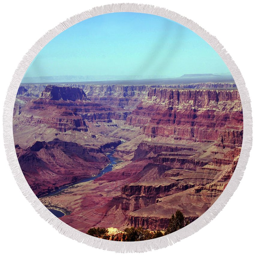 Grand Canyon Round Beach Towel featuring the photograph The Colorado River by Susanne Van Hulst