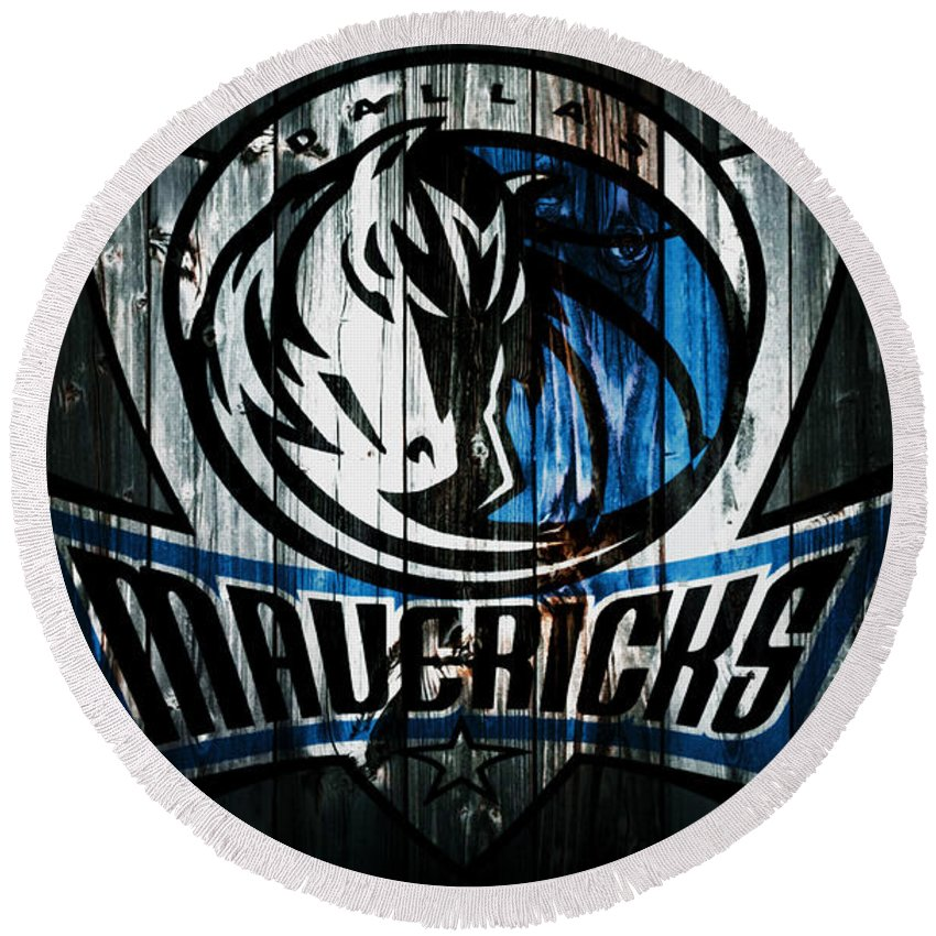 Dallas Mavericks Round Beach Towel featuring the mixed media The Dallas Mavericks 2b by Brian Reaves