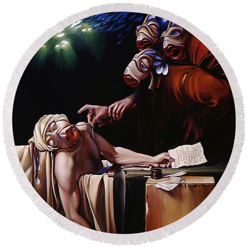 Mermais Round Beach Towel featuring the painting The Death Of Mullet by Patrick Anthony Pierson