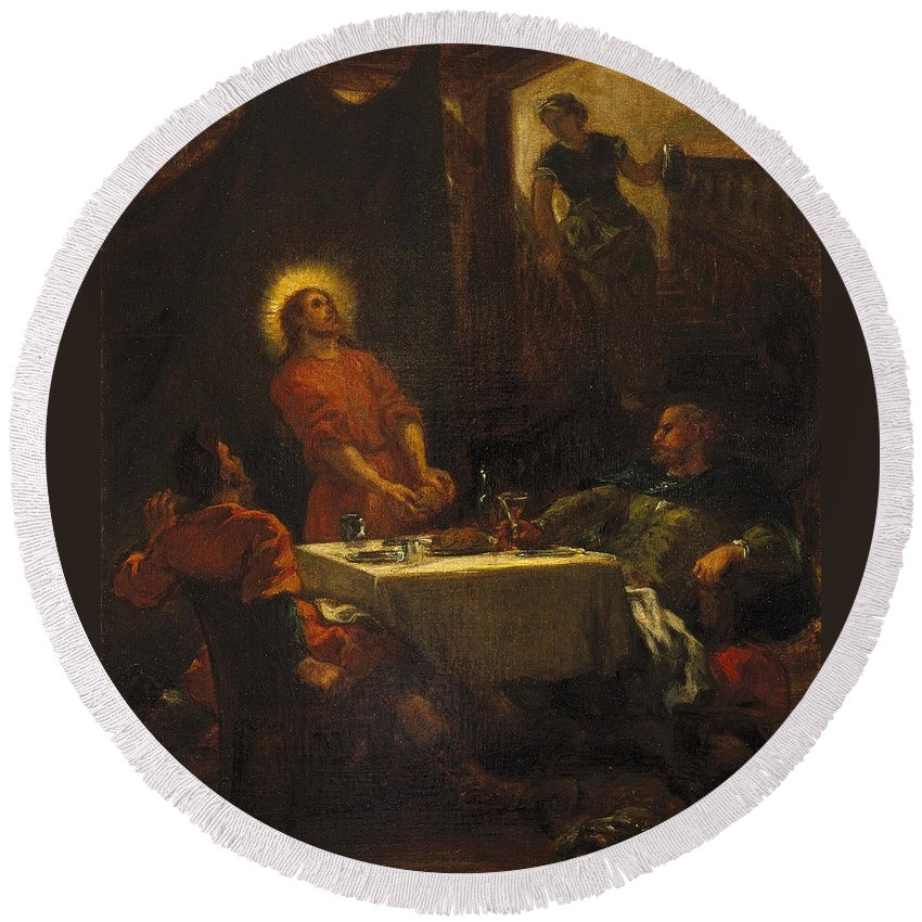 Christ Round Beach Towel featuring the painting The Disciples At Emmaus by Eugene Delacroix