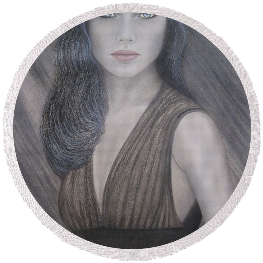 Woman Round Beach Towel featuring the painting The Doll by Lynet McDonald