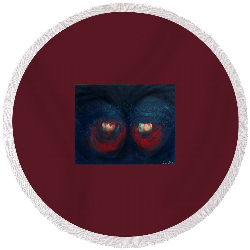 Round Beach Towel featuring the painting The Fanatic by Rein Nomm