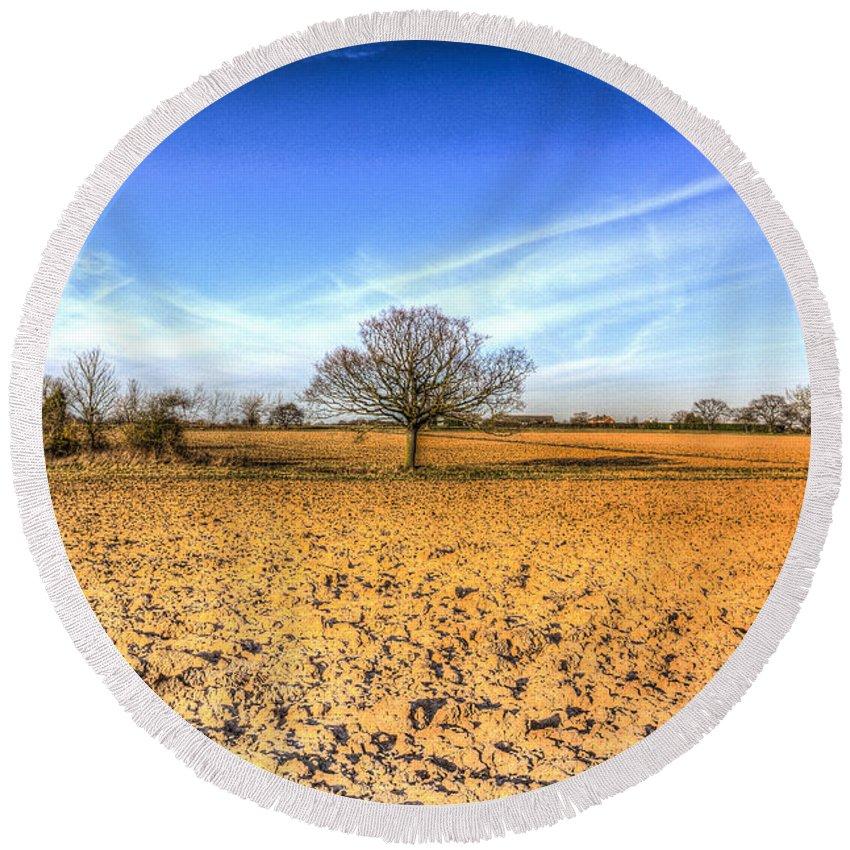 Farm Round Beach Towel featuring the photograph The Farm Tree by David Pyatt