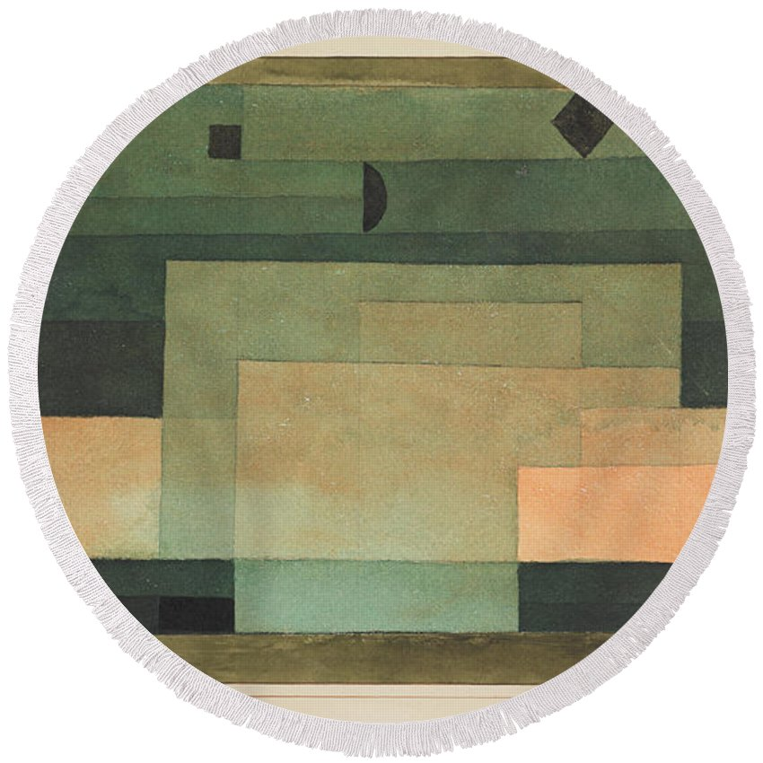 Paul Klee The Firmament Above The Temple Round Beach Towel featuring the painting The Firmament Above The Temple by Paul Klee