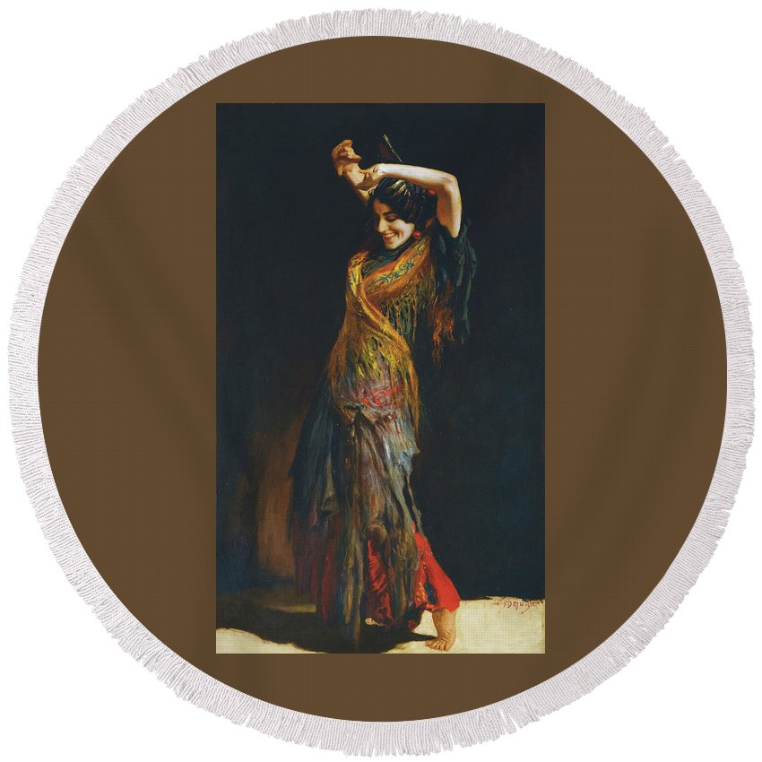 Leopold Schmutzler (austrian Round Beach Towel featuring the painting The Flamenco Dancer by MotionAge Designs