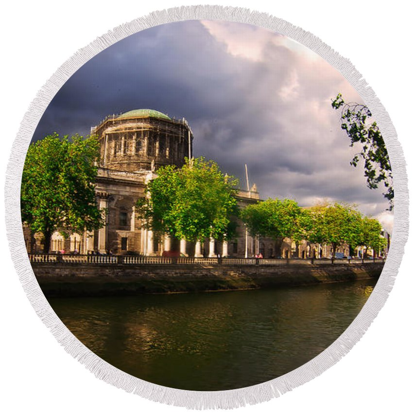 The Four Courts In Reconstruction Round Beach Towel featuring the photograph The Four Courts In Reconstruction 2 by Alex Art and Photo