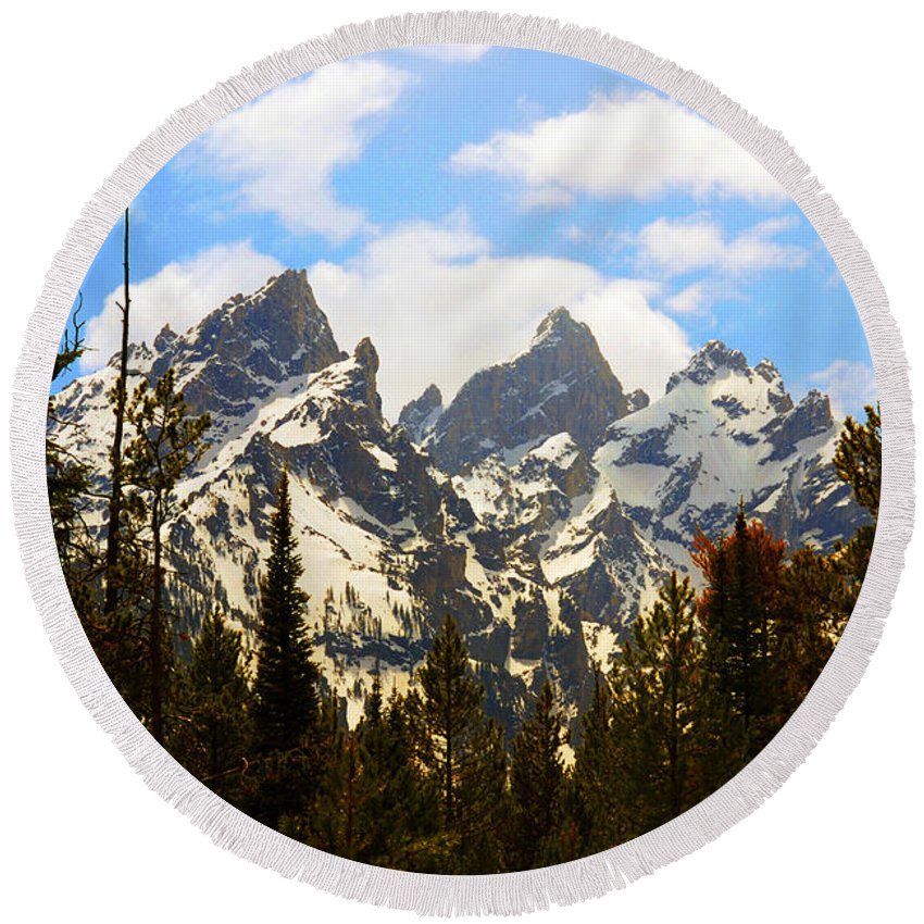 Photography Round Beach Towel featuring the photograph The Grand Tetons by Susanne Van Hulst