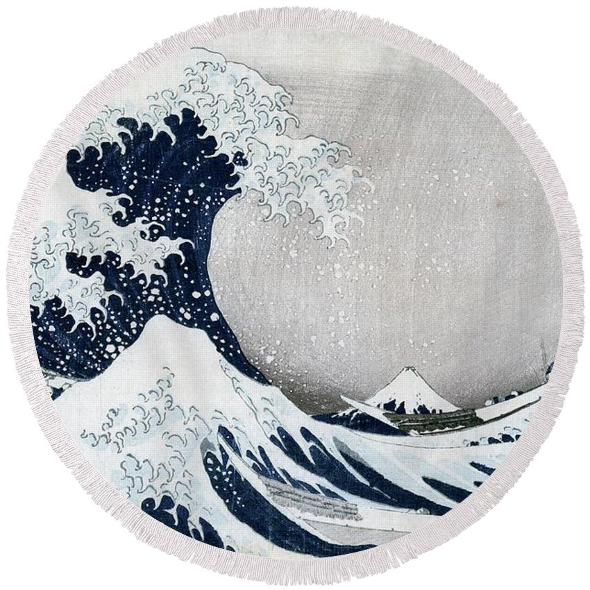 The Round Beach Towel featuring the painting The Great Wave Of Kanagawa by Hokusai