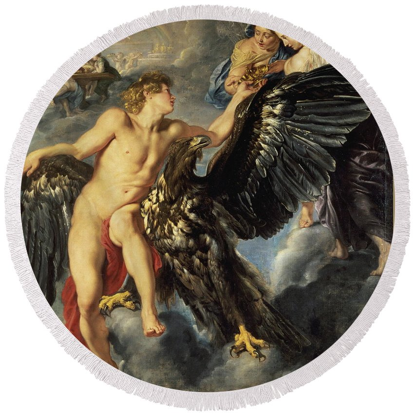 Ufo Round Beach Towel featuring the painting The Kidnapping Of Ganymede by Peter Paul Rubens