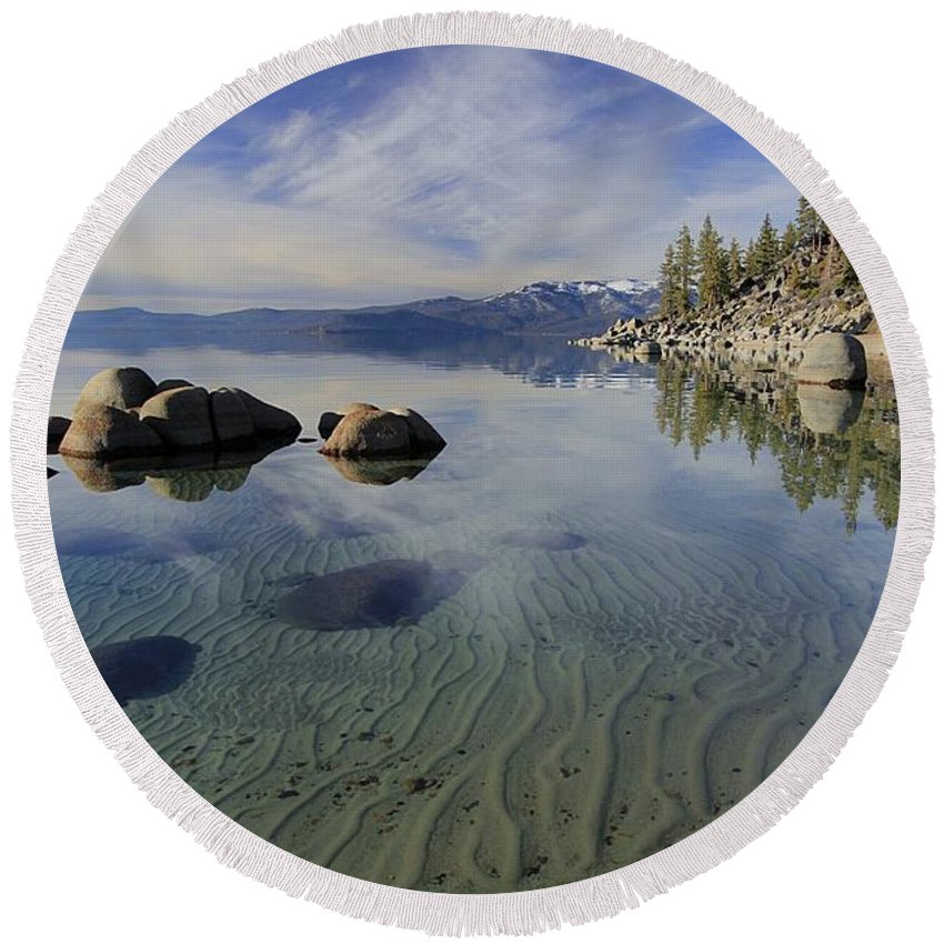 Lake Tahoe Round Beach Towel featuring the photograph The Language Of Sands by Sean Sarsfield