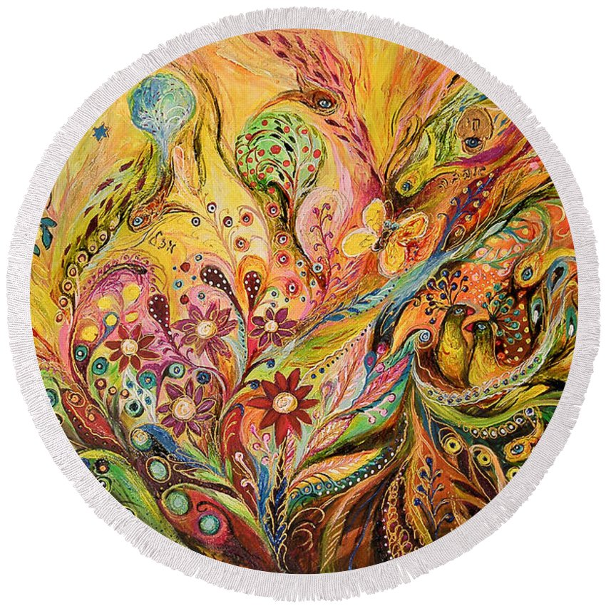 Original Round Beach Towel featuring the painting The Life Of Butterfly by Elena Kotliarker