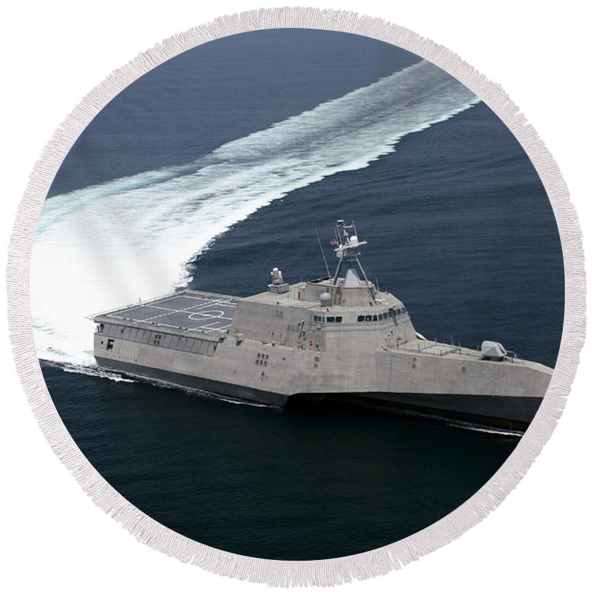 Trials Round Beach Towel featuring the photograph The Littoral Combat Ship Independence by Stocktrek Images