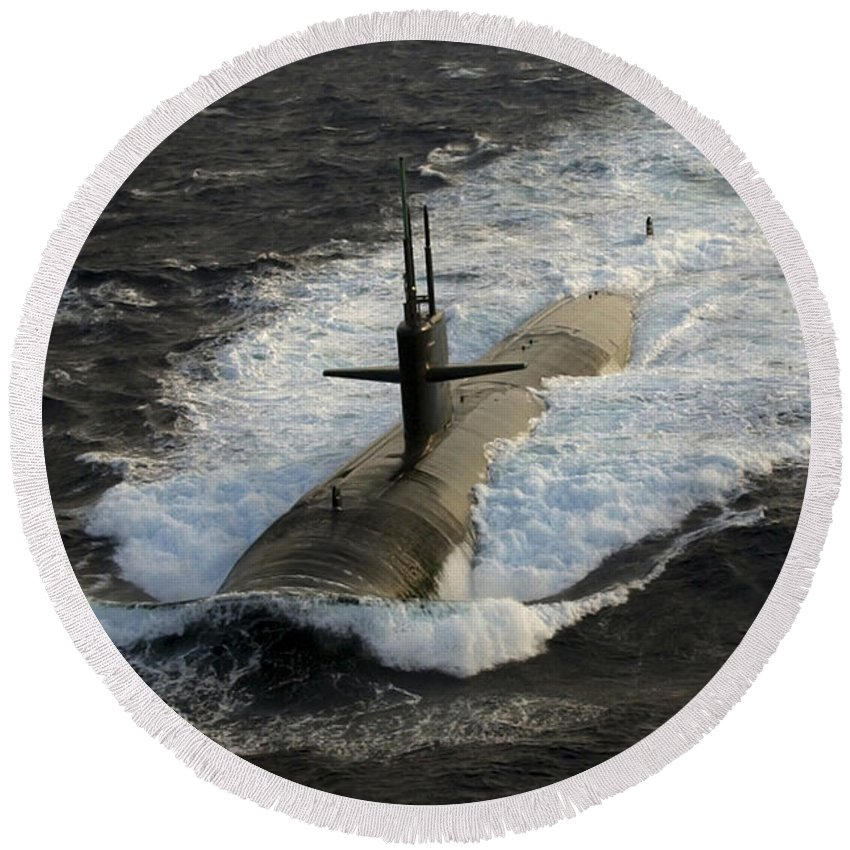Vertical Round Beach Towel featuring the photograph The Los Angeles-class Submarine Uss by Stocktrek Images