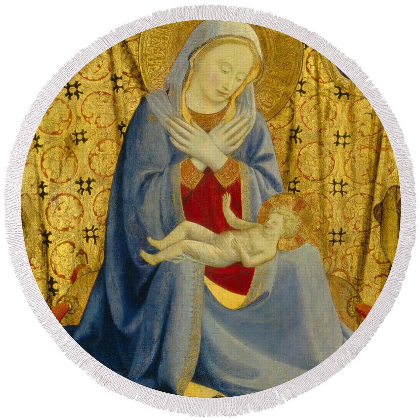 Angel Round Beach Towel featuring the painting The Madonna Of Humility by Fra Angelico