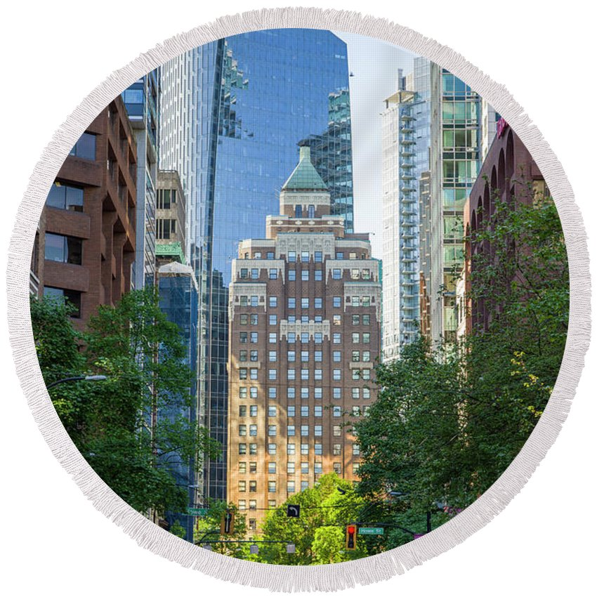 British Columbia Round Beach Towel featuring the photograph The Marine Building by Ross G Strachan