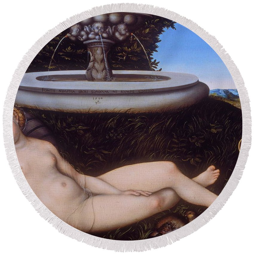 Fountain Round Beach Towel featuring the painting The Nymph Of The Fountain by Lucas Cranach the Elder