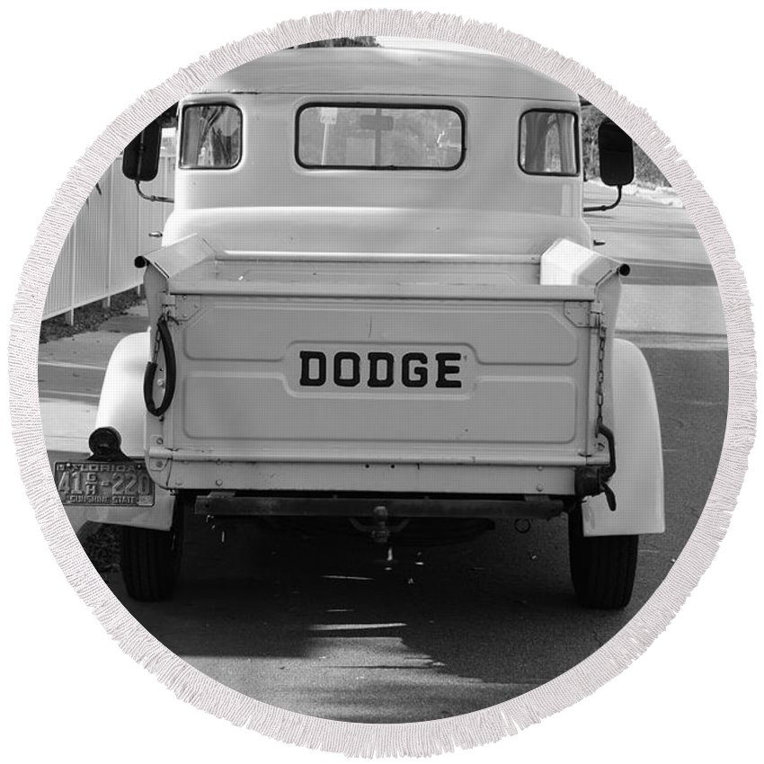 Black And White Round Beach Towel featuring the photograph The Old Dodge by Rob Hans