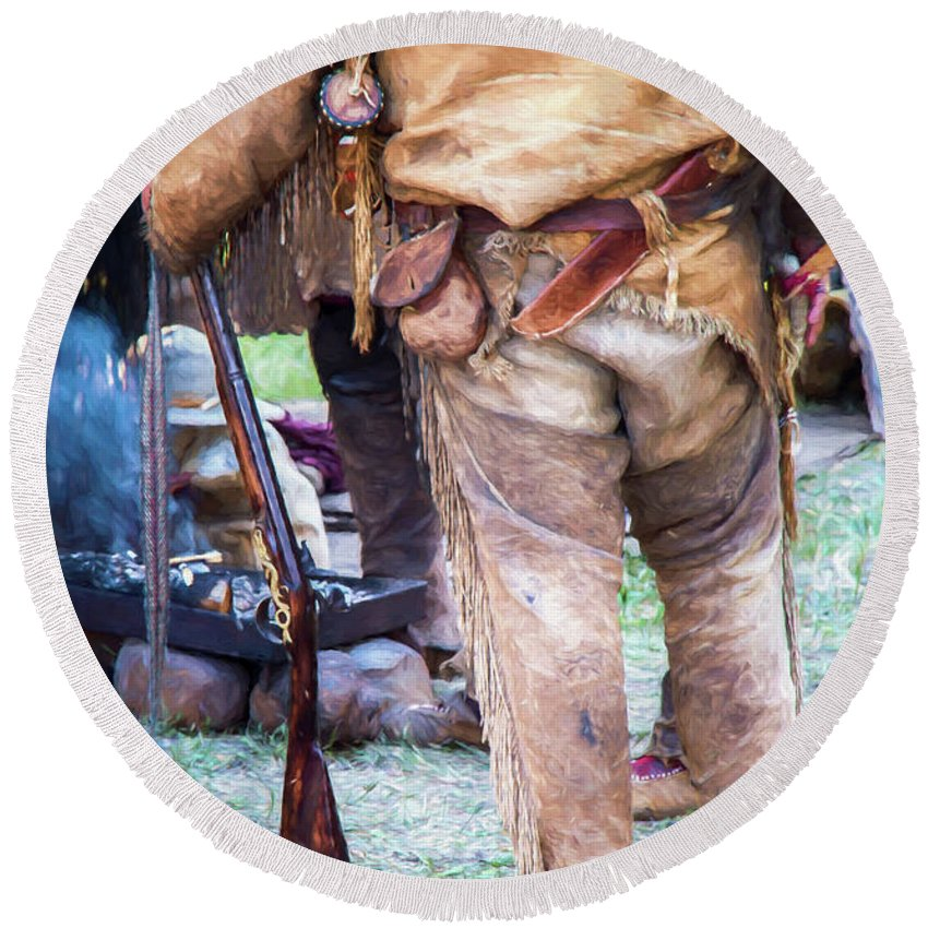 Mountain Man Round Beach Towel featuring the photograph The Old West by Carolyn Fox