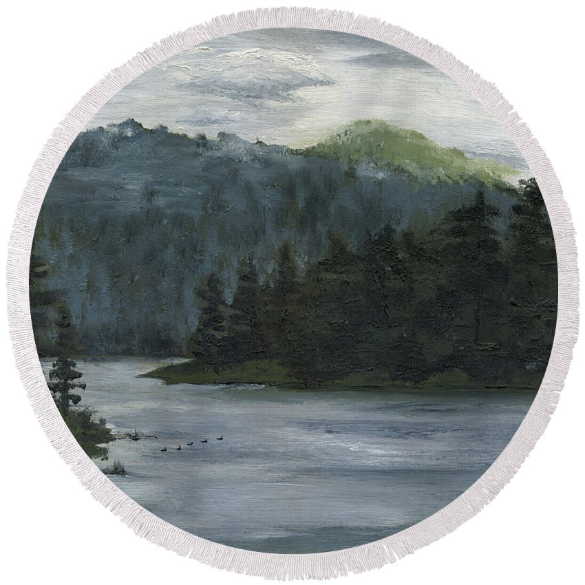Blackhills Round Beach Towel featuring the painting The Overlook by Mary Tuomi