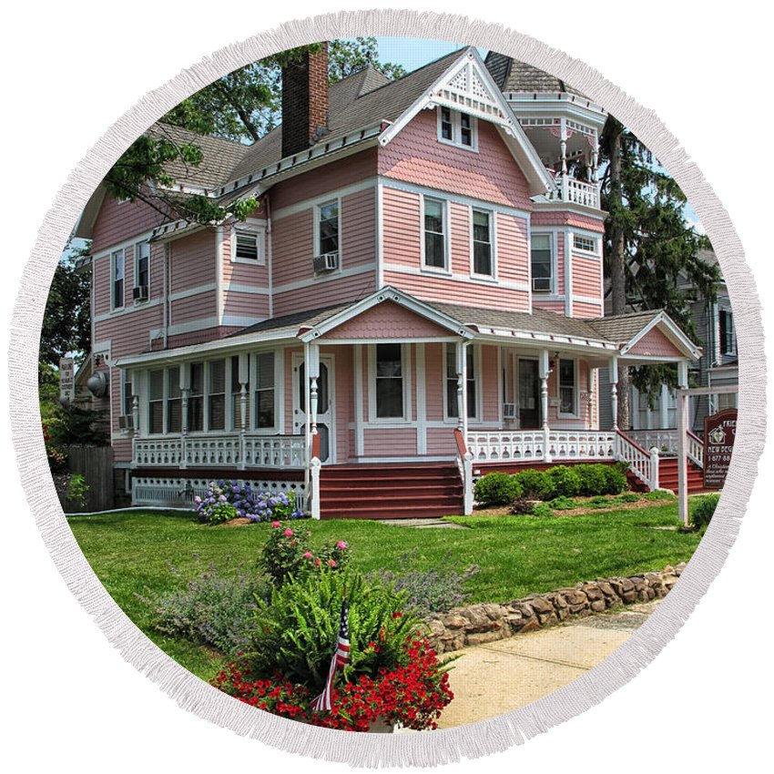Pink Round Beach Towel featuring the photograph The Pink House by Dave Mills