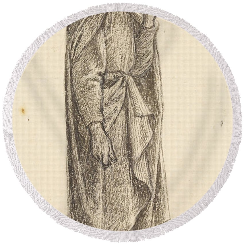 Dante Gabriel Rossetti Round Beach Towel featuring the drawing The Prince's Progress by Dante Gabriel Rossetti