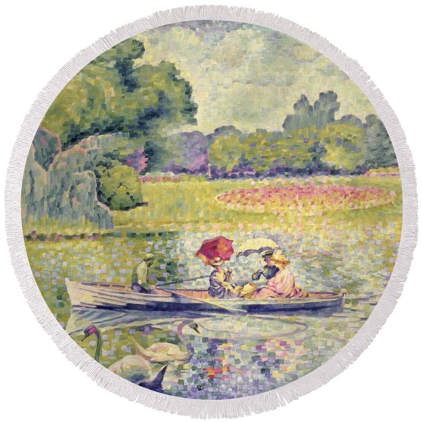 The Promenade In The Bois De Boulogne Round Beach Towel featuring the painting The Promenade In The Bois De Boulogne by Henri-Edmond Cross
