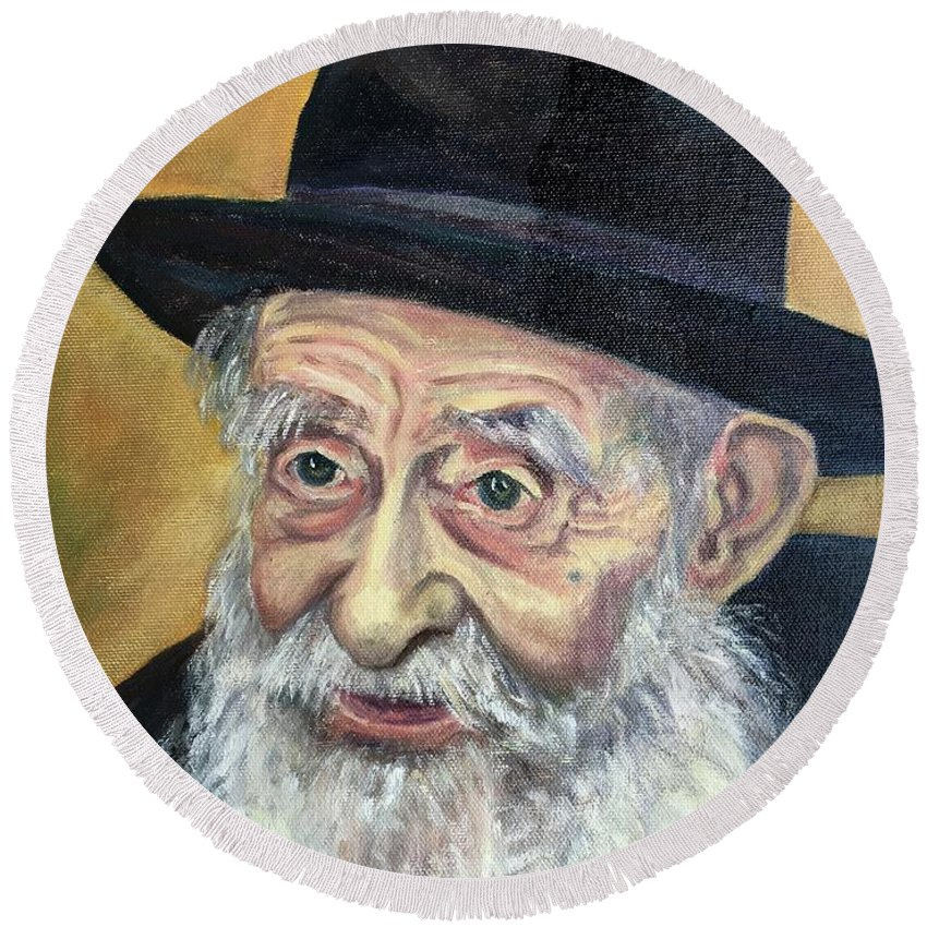 Jewish Round Beach Towel featuring the painting The Rabbi by Laura Napoli