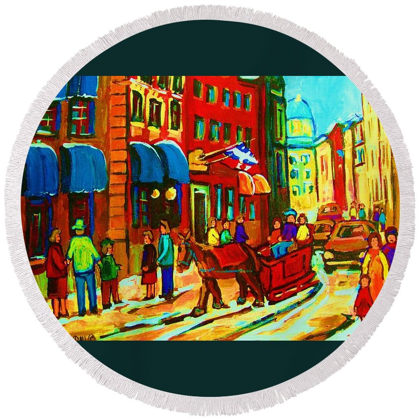 Montreal Round Beach Towel featuring the painting The Red Sled by Carole Spandau