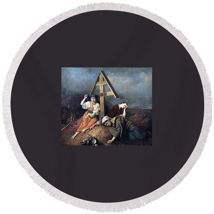Device Round Beach Towel featuring the digital art The Scene At The Grave H 1859 58h69 Am Gtg Vasily Perov by Eloisa Mannion