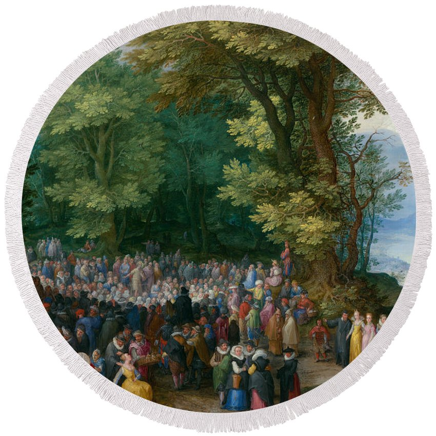 Jan Brueghel The Elder Round Beach Towel featuring the painting The Sermon On The Mount by Jan Brueghel the Elder