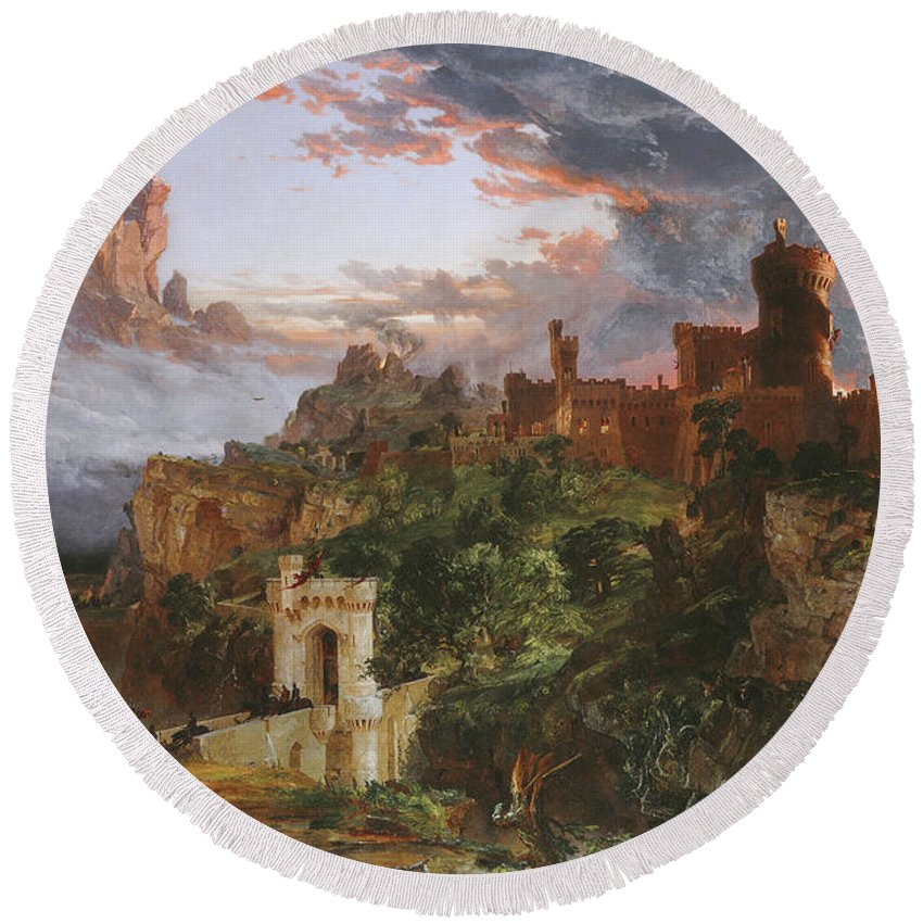 Jasper Francis Cropsey Round Beach Towel featuring the painting The Spirit Of War by Jasper Francis Cropsey