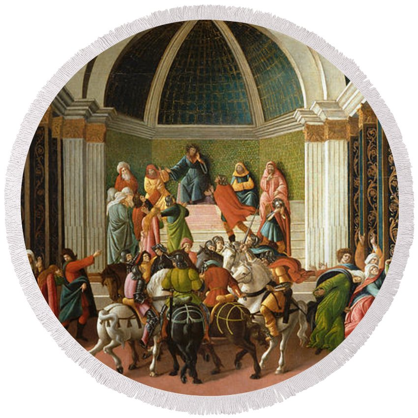 Alessandro Di Mariano Di Vanni Filipepi Round Beach Towel featuring the painting The Story Of Virginia by Sandro Botticelli
