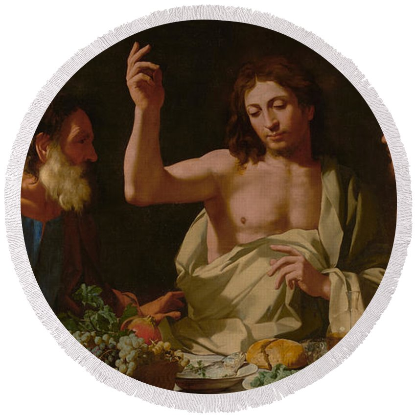 Bartolomeo Round Beach Towel featuring the painting The Supper At Emmaus by Bartolomeo Cavarozzi