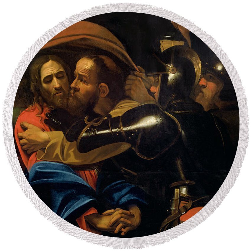The Taking Of Christ (oil On Canvas) By Michelangelo Caravaggio (1571-1610) Round Beach Towel featuring the painting The Taking Of Christ by Michelangelo Caravaggio