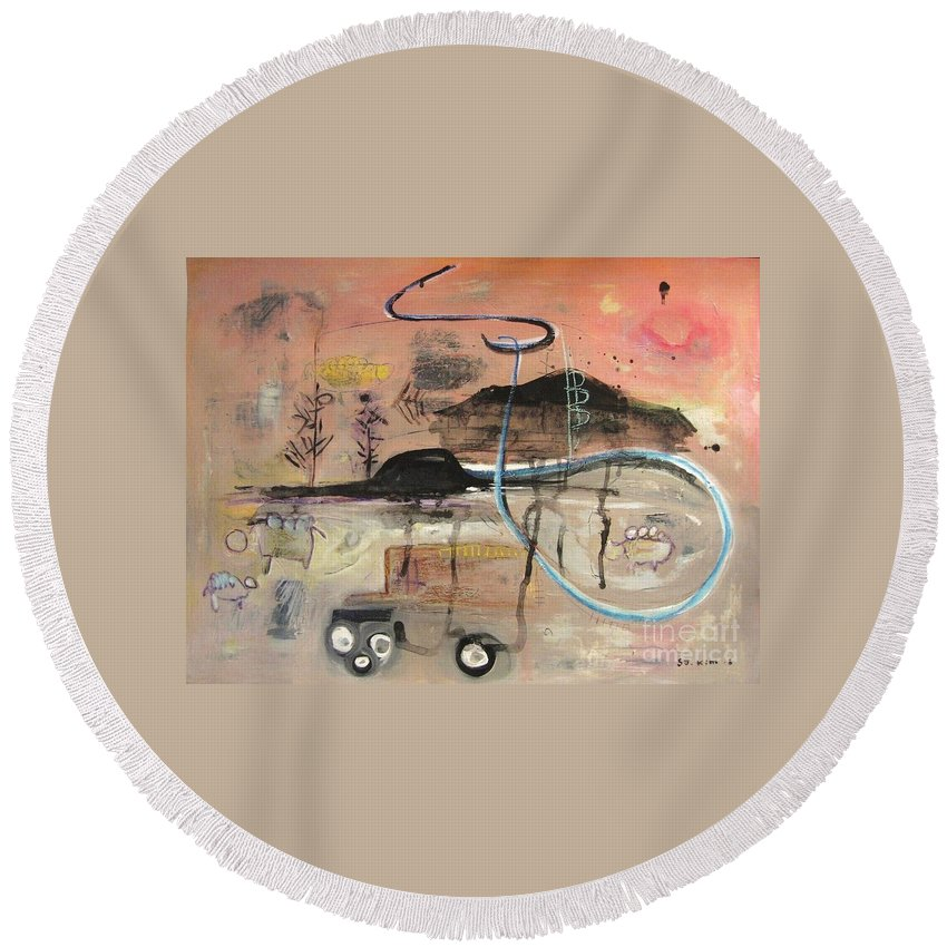 Acrylic Paper Canvas Abstract Contemporary Landscape Dusk Twilight Countryside Round Beach Towel featuring the painting The Tempo Of A Day by Seon-Jeong Kim