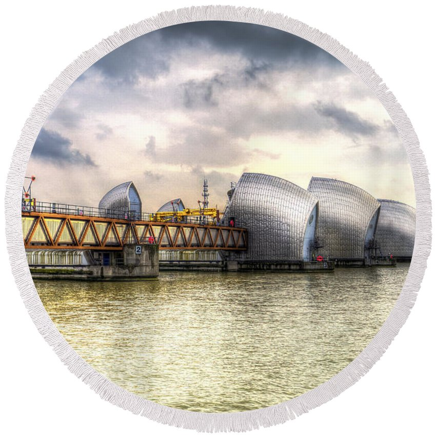 London Round Beach Towel featuring the photograph The Thames Barrier London by David Pyatt