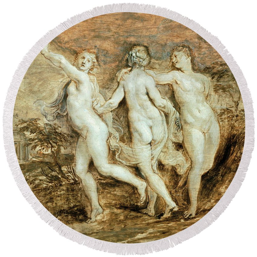 Graces Round Beach Towel featuring the painting The Three Graces by Peter Paul Rubens