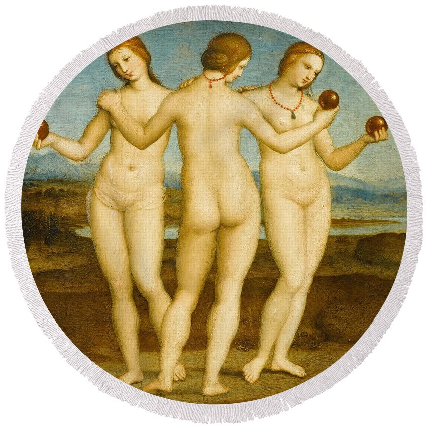 Apples Round Beach Towel featuring the painting The Three Graces by Raffaello Sanzio