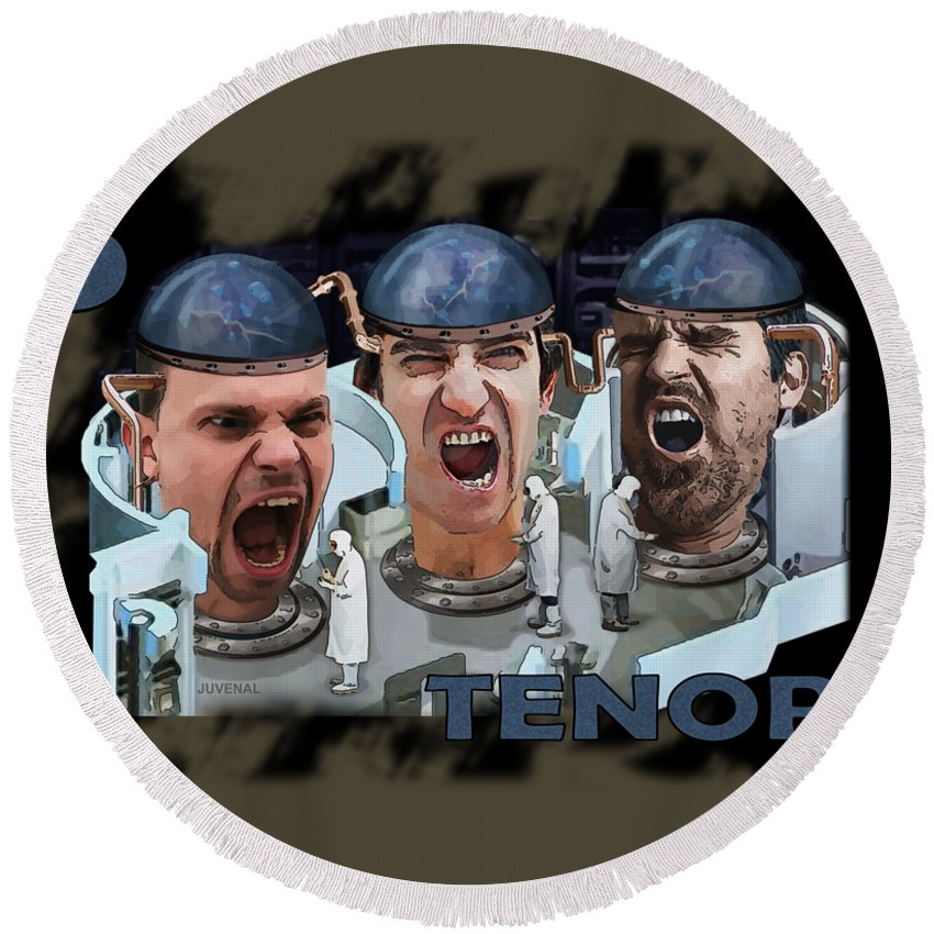 Canvas Prints Round Beach Towel featuring the digital art The Three Tenors by Joseph Juvenal