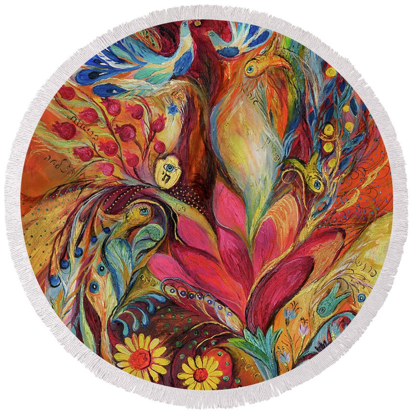Original Round Beach Towel featuring the painting The Tree Of Life by Elena Kotliarker