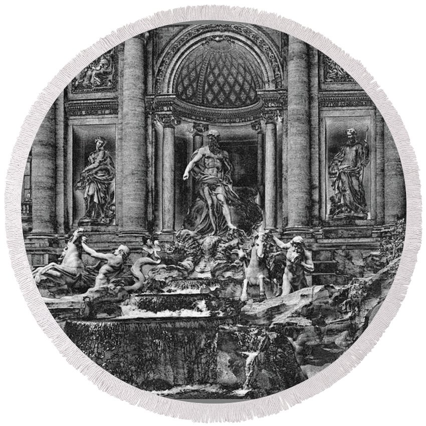 Trevi Fountain Round Beach Towel featuring the mixed media The Trevi Fountain by Guy Ciarcia
