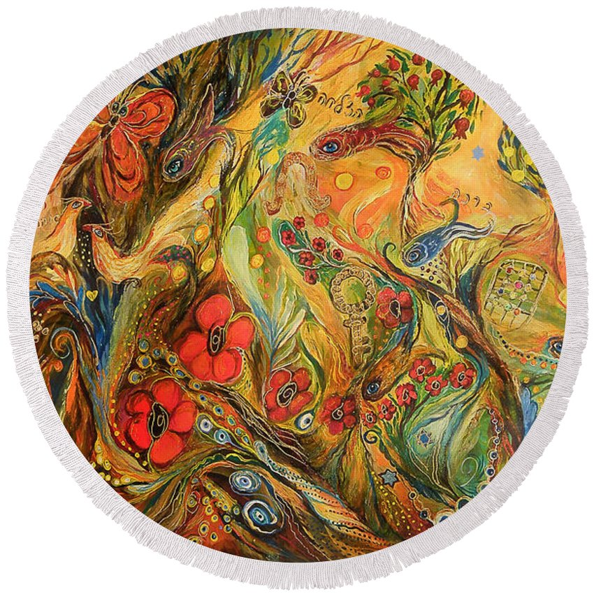 Original Round Beach Towel featuring the painting The True Love by Elena Kotliarker