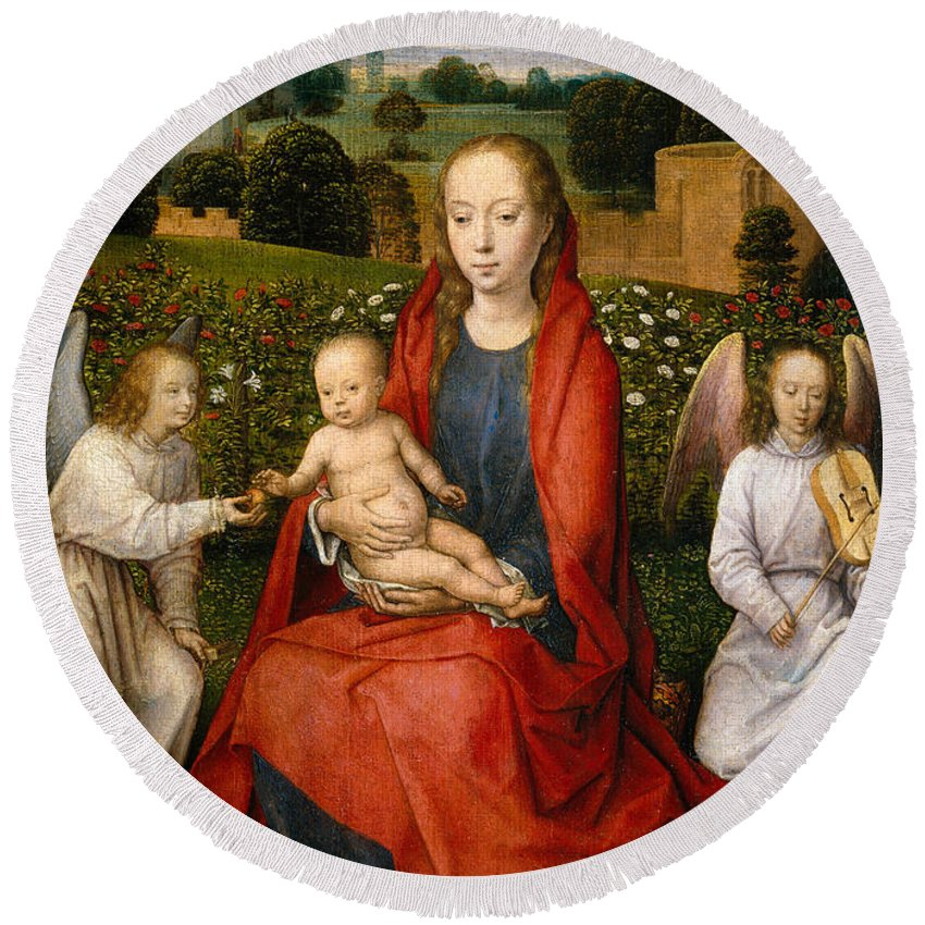 Angel Round Beach Towel featuring the painting The Virgin And Child Between Two Angels by Hans Memling