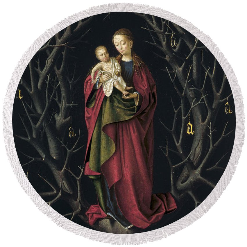 Blessed Virgin Mary Round Beach Towel featuring the painting The Virgin Of The Dry Tree by Petrus Christus
