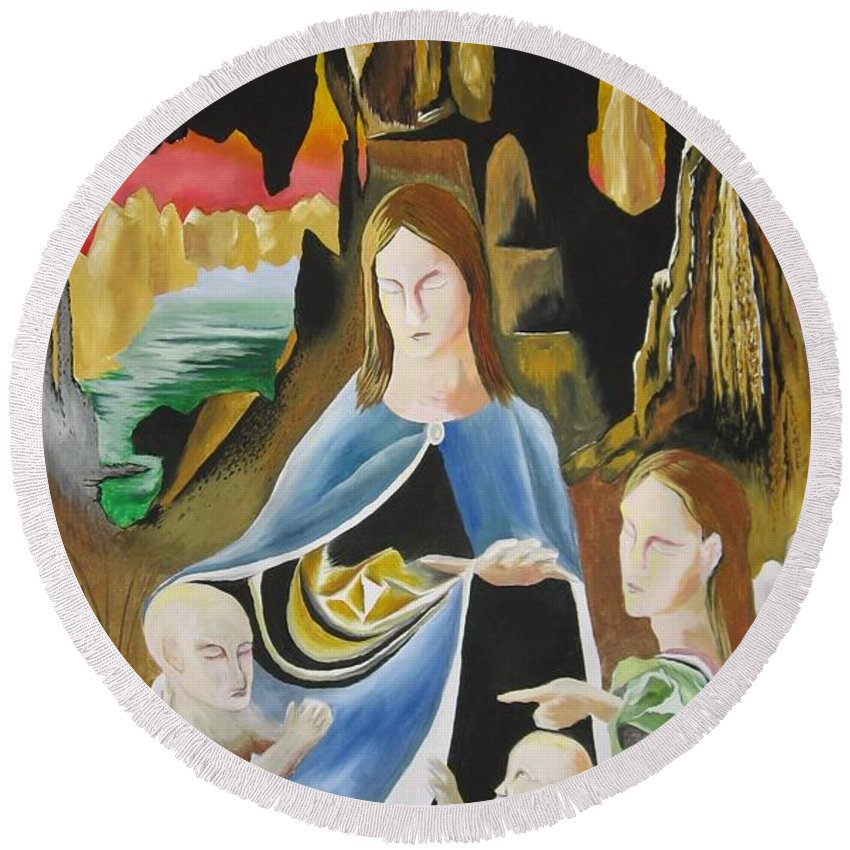 Round Beach Towel featuring the painting The Virgin Of The Rocks by Ronnie Lee