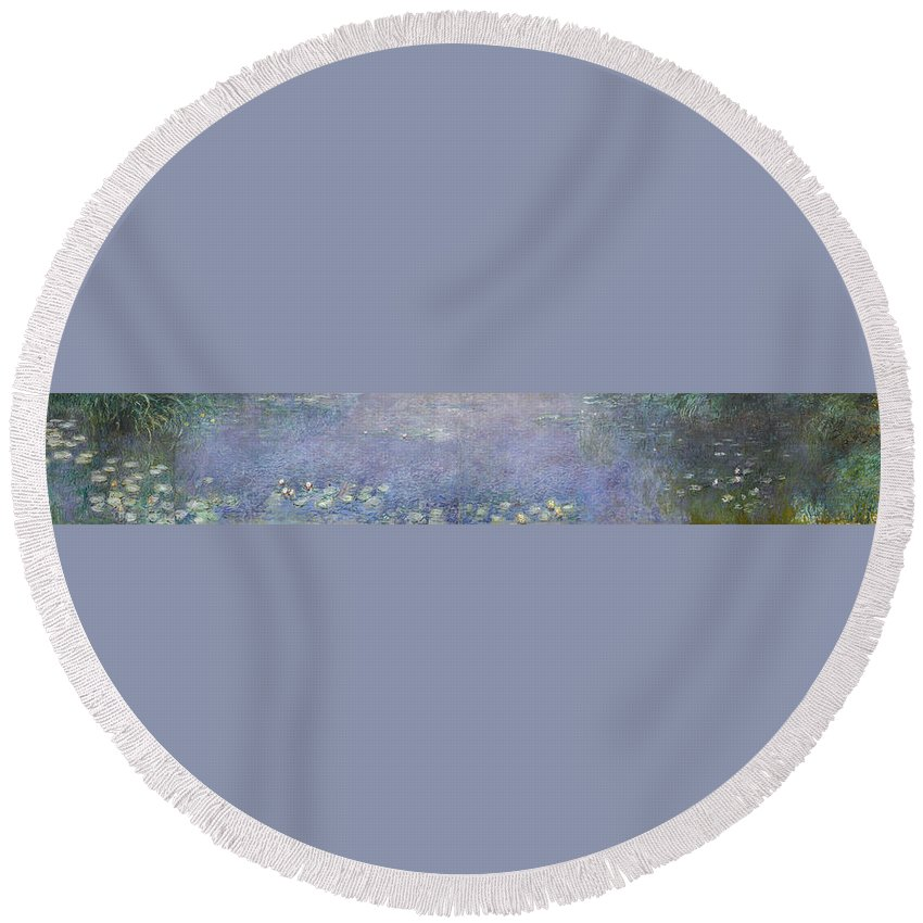 Claude Monet Round Beach Towel featuring the painting The Water Lilies, Morning by Claude Monet