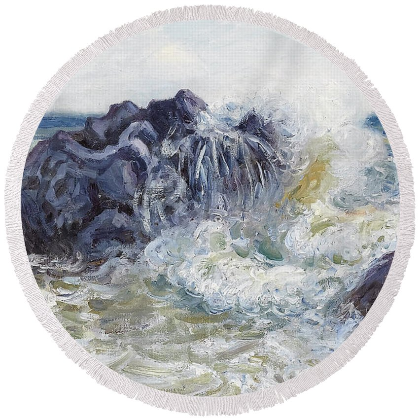 Langland Bay Round Beach Towel featuring the painting The Wave by MotionAge Designs