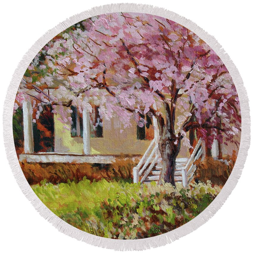 Impressionism Round Beach Towel featuring the painting The Yellow Porch by Keith Burgess