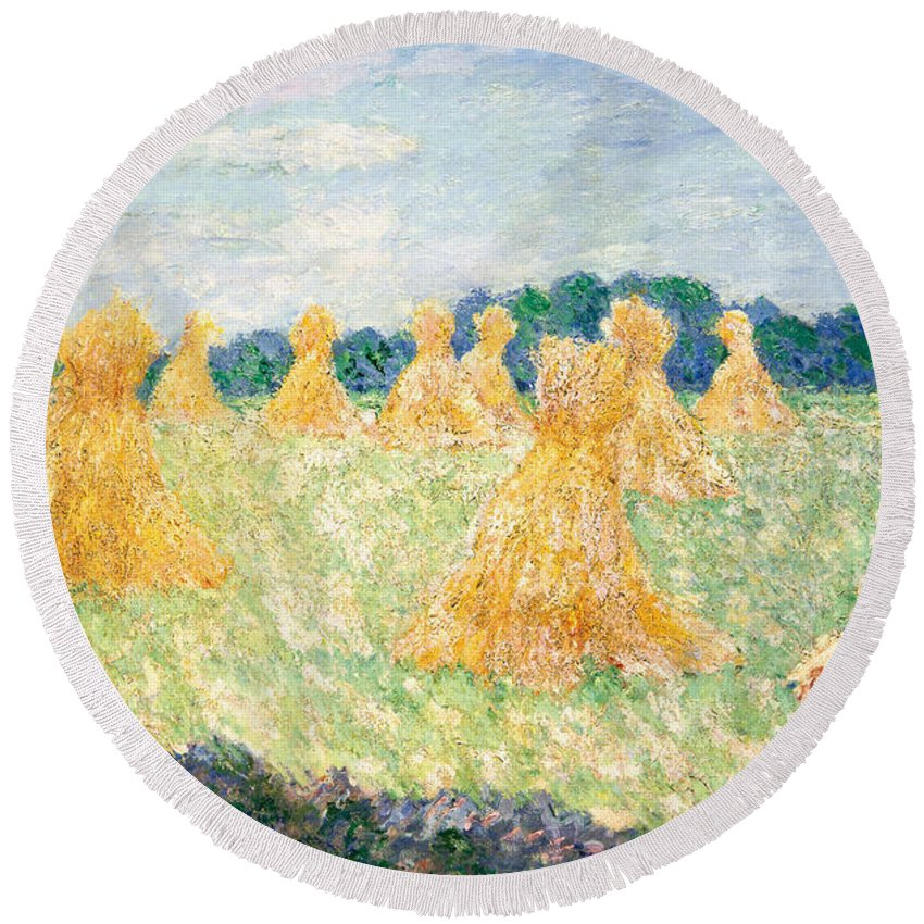 Claude Monet Round Beach Towel featuring the painting The Young Ladies Of Giverny, Sun Effect by Claude Monet